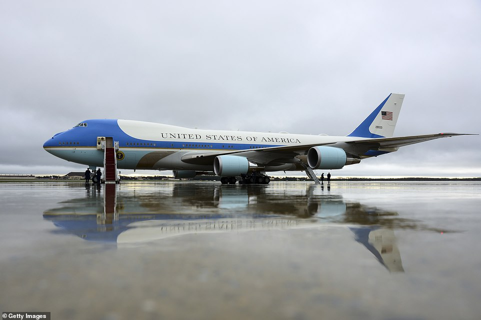 The outgoing president is due to hold a farewell ceremony at Joint Base Andrews, in Maryland,the usual jumping-off point for Air Force One (above)