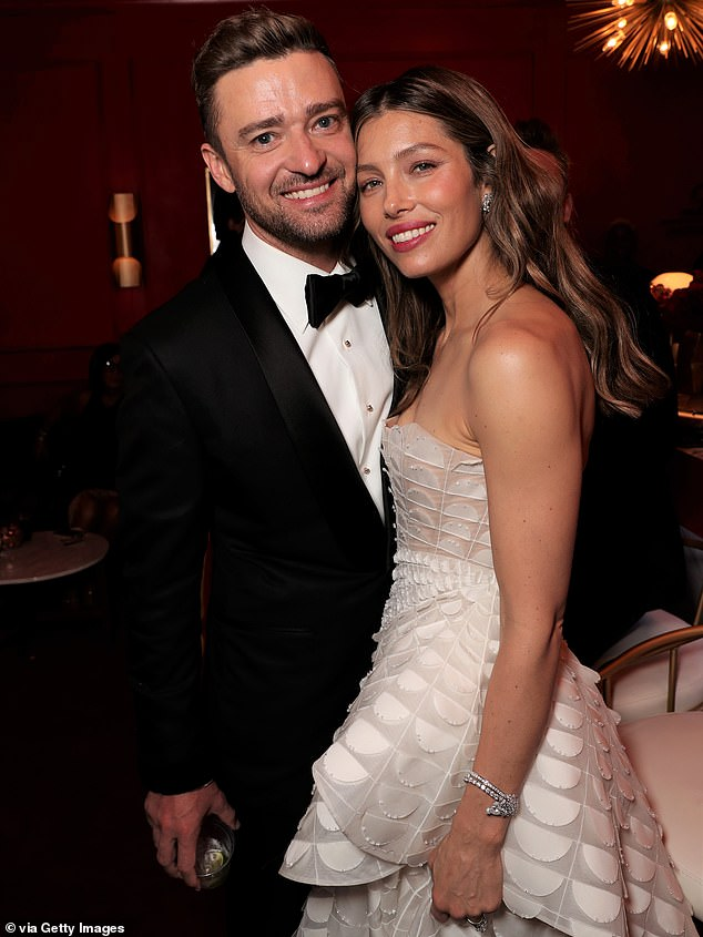 The couple's baby news comes just eight months after Timberlake was caught canoodling with his co-star Alisha Wainwright, 31, during a night out in New Orleans, Louisiana. Timberlake and Biel are pictured in September 2018