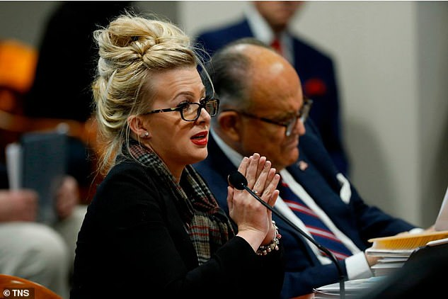 In Michigan, Giuliani's star witness Mellissa Carone (above) drew mockery from Saturday Night Live over her disjointed claims of massive election fraud