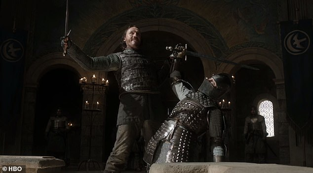 Giuliani has said that he was quoting from the HBO series Game Of Thrones, which he inexplicably described as a 'famous documentary about fictitious medieval England.' In 'Game of Thrones' the trial resulted in Bronn (left) slitting the throat ofSer Vardis Egen (right)