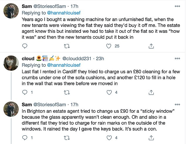 Other renters quickly shared similar stories of being charged up to £90 for leaving behind bins or washing machines for other residents