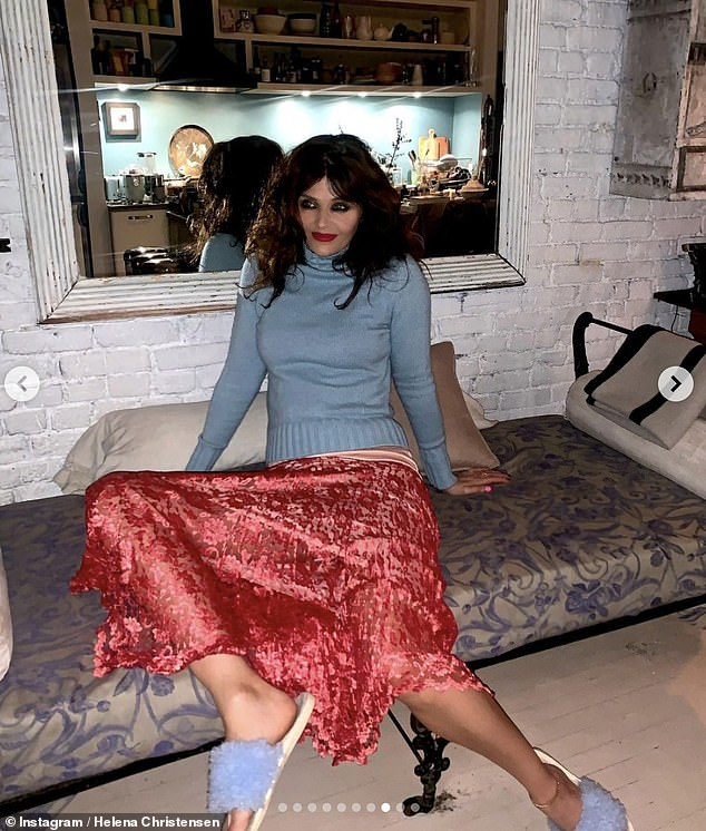 Chic: Helena also gave a glimpse into her stunning Catskills home as she posed up a storm for the lockdown photoshoot