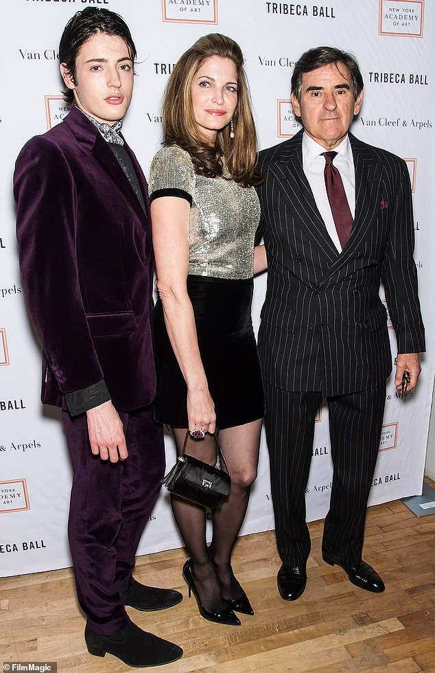 Happy family: Born August 3, 1996, Harry is the son of supermodel Stephanie Seymour, 52, and billionaire husband Peter Brant, 73, who also share son Peter II, 27, and daughter Lilly Margaret, 16 (pictured with mother Stephanie and father Peter in April, 2015)