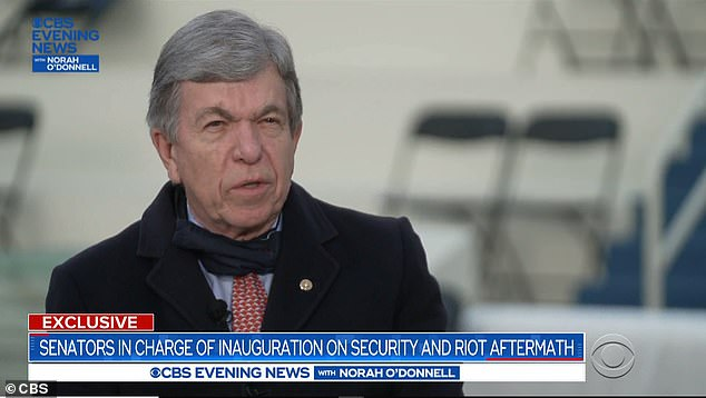 Republican Senator Roy Blunt called the Capitol storming two weeks ago 'one of the great stains on the history of the country' – he did not specifically condemn Donald Trump for any involvement in the attack
