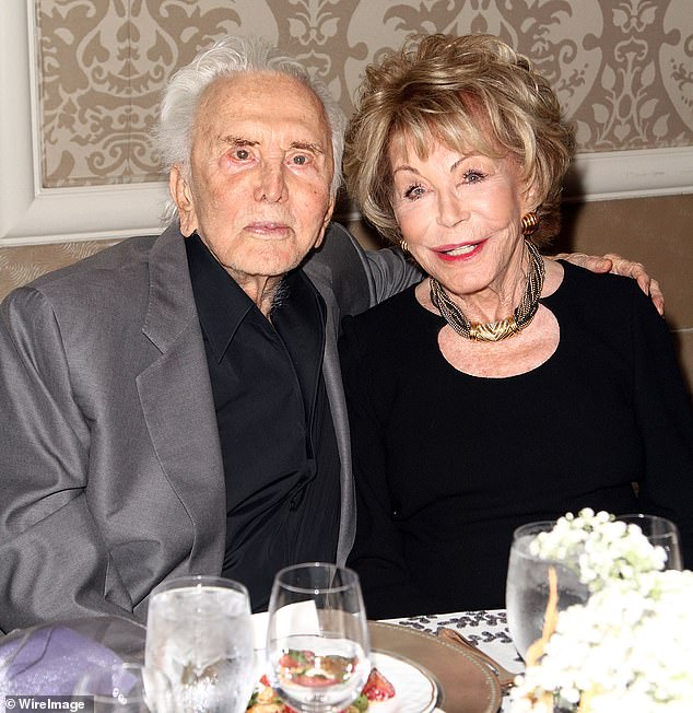 Love:Michael's father - and Cameron's grandfather - Kirk Douglas died February 5, 2020 at the age of 103; pictured September 24, 2013 in Beverly Hills