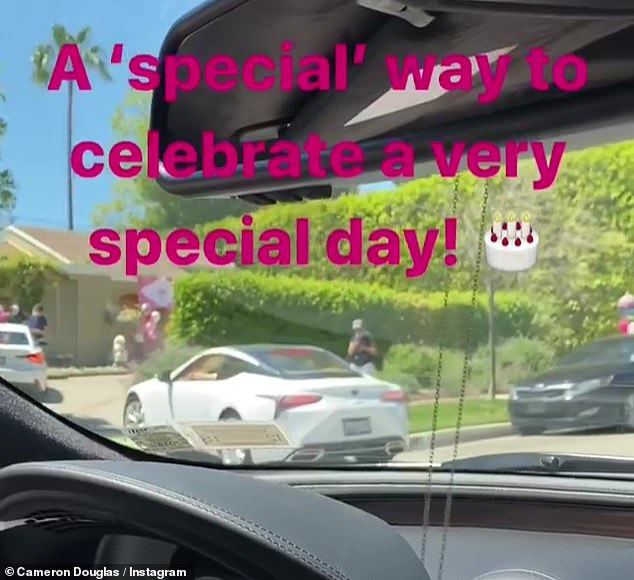 What a great day: Cameron chronicled their visit on his Instagram stories
