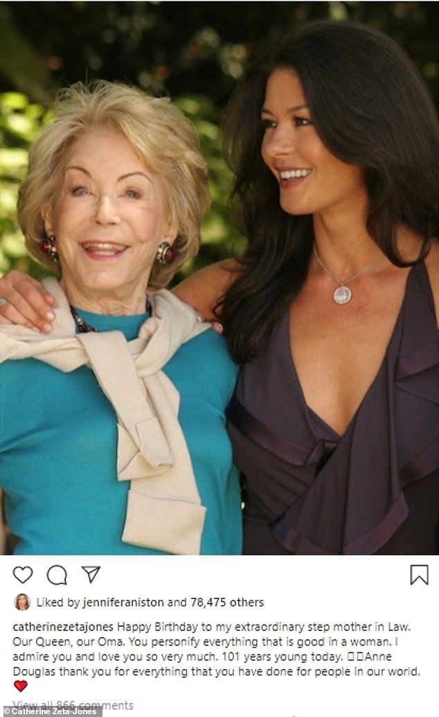 Thoughful:Michael's wife, actress Catherine Zeta Jones, also shared a sweet tribute to Anne along with a picture of the two of them