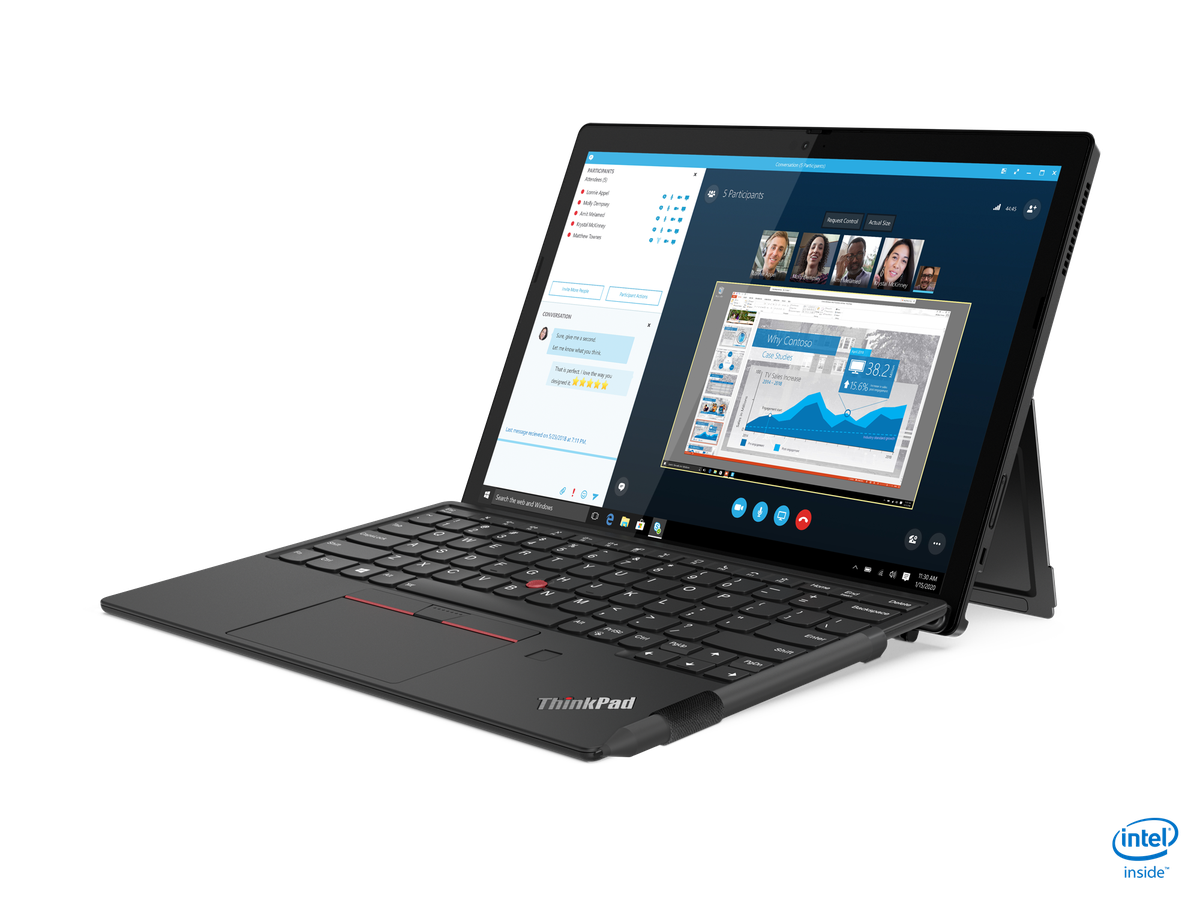 The Lenovo ThinkPad X1 Detachable in laptop mode, angled to the left side.