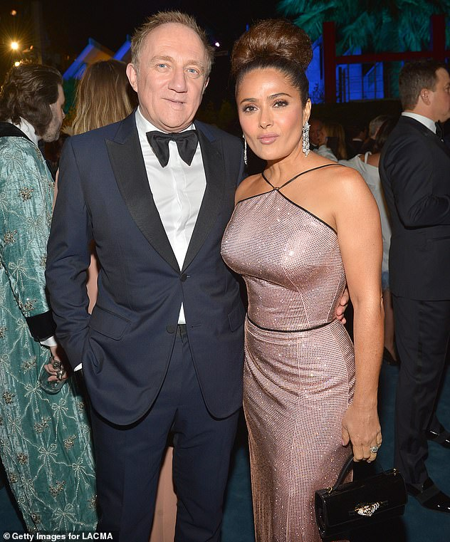 Smitten: Salma and her French businessman husband have been married since 2009, after tying the knot in a lavish Paris ceremony on Valentine's Day (pictured in 2019)