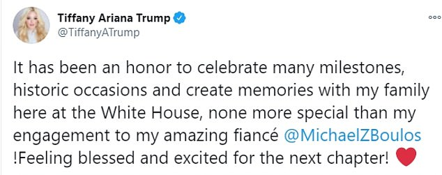 Timing: The First Daughter chose to share the news on her father's final day in office, describing her engagement as her most 'special' White House memory