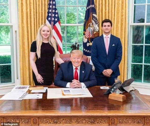 Mystery: It's unclear if Michael, 23, asked President Donald Trump for his daughter's hand in marriage, but he has spent plenty of time with Tiffany's father in recent months