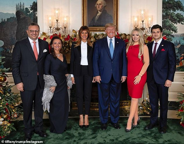 Family affair: Tiffany, Michael, and his parents, Massad and Sarah Boulos, attended a holiday party hosted by President Trump and First Lady Melania at the White House in 2019