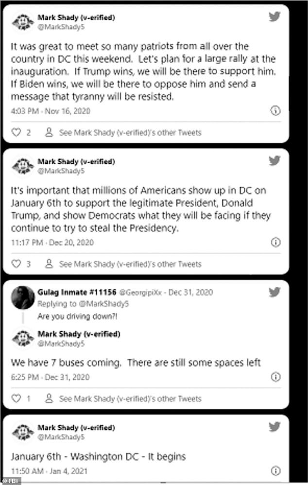 Federal authorities said that Sahady posted plans on Twitter to have busloads of Trump supporters travel to DC on January 6