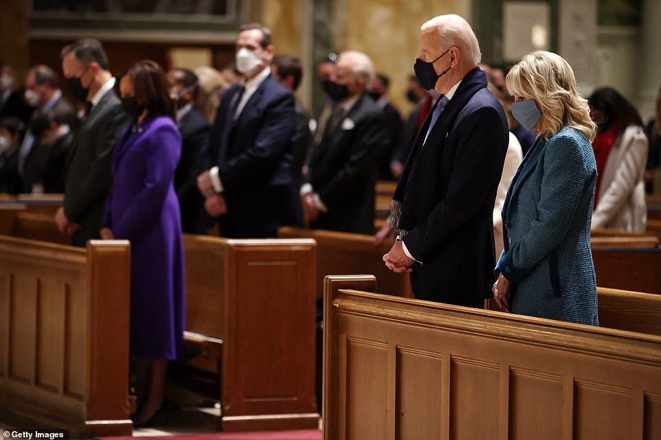 He was joined by Senate Majority Leader Mitch McConnell, Majority Leader Kevin McCarthy, House Speaker Nancy Pelosi, Vice President-elect Kamala Harris and her husband Doug Emhoff