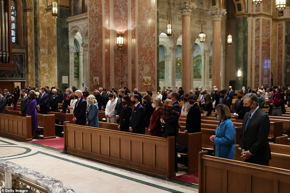 Biden and the powerbrokers who will help steer or stall his agenda joined for the service at the Cathedral of St. Matthew the Apostle, where funeral services were held for President John F. Kenned in 1963