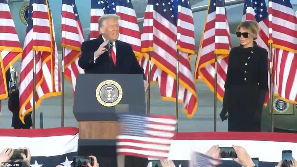 Trump gives his farewell speech at Andrews Air Force Base in the last hours of his Presidency. He said it had been an 'honor and a privilege'