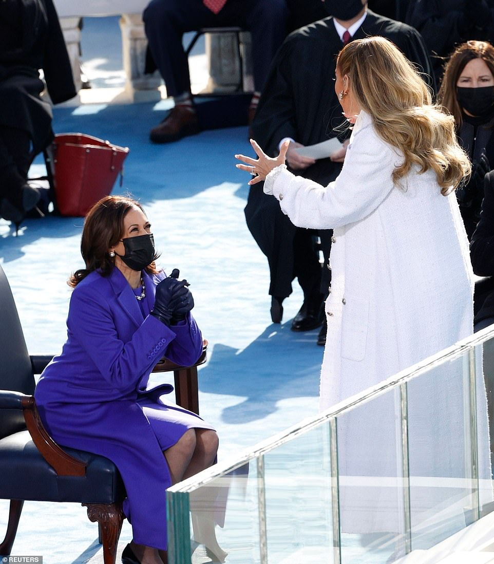 J-Lo and Kamala Harris on the steps of the US Capitol moments after Harris was sworn in as vice president