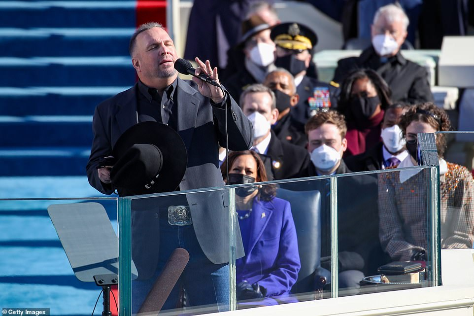 Country music star Garth Brooks took to the stage to perform 'Amazing Grace' after Biden delivered his first address to the American people