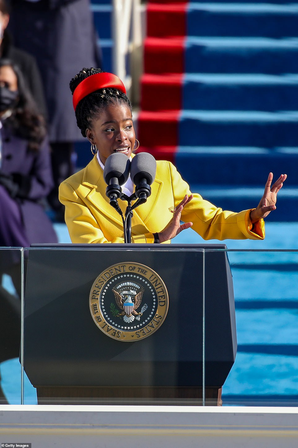 Gorman is the nation's first-ever youth poet laureate. 'Being American is more than a pride we inherit. It's the past we step into and how we repair it,' she said