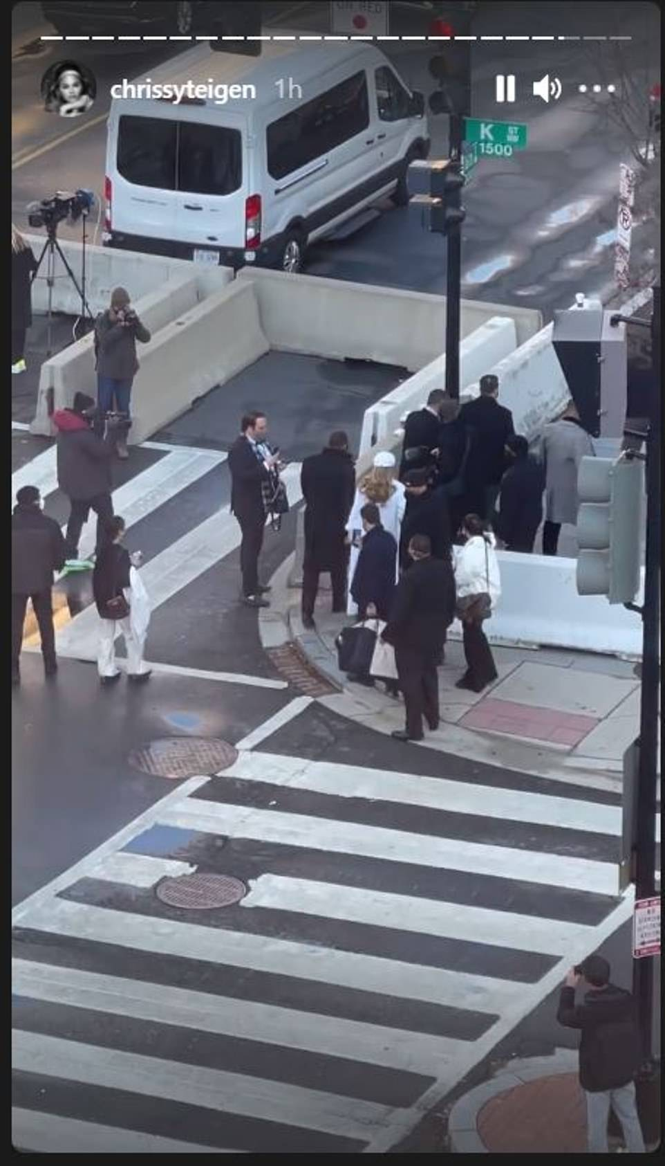 Teigen shared footage of the back of J-Lo and A-Rod walking toward the Capitol as she played at being a news reporter and said in a voiceover: 'Breaking news, breaking news. It is J-lo and A-Rod. Oh finally I have got you something'