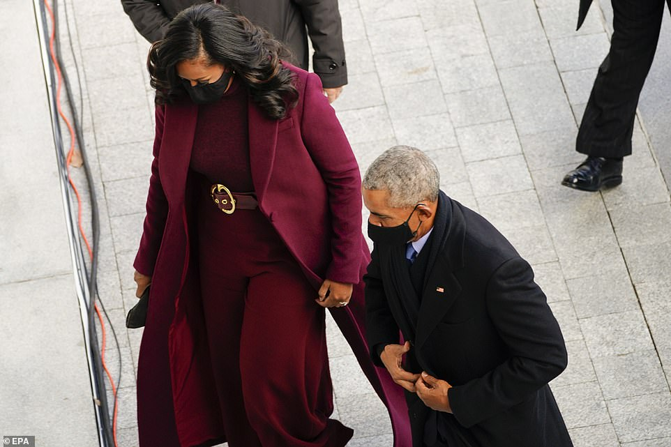 Michelle and Barack Obama arrive at the US Capitol Wednesday to see the former president's former vice president be sworn in as president