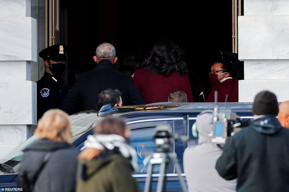 Former President Barack Obama and former First Lady Michelle Obama were seen arriving at the Capitol around 10 am Wednesday