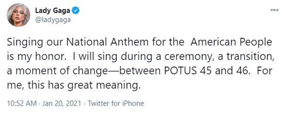 Lady Gaga said it would be an 'honor' to sing the National Anthem during Wednesday's ceremony