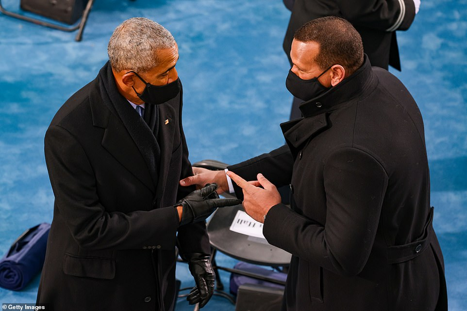 A-Rod, who is engaged to Jennifer Lopez, greeting Barack Obama as they both arrived for the ceremony
