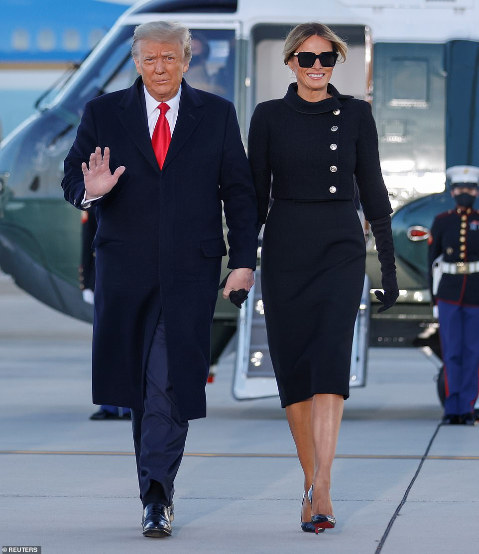 Bucking tradition: Outgoing President Donald Trump and First Lady Melania skipped the inauguration and flew to his Mar-a-Lago estate in Palm Beach, Florida, but she got in one last sartorial look as she left the White House in an all-black outfit