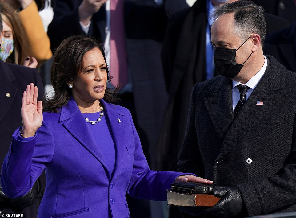 Taking oath: Harris made history as the first female and first black and south Asian Vice President when she was sworn in