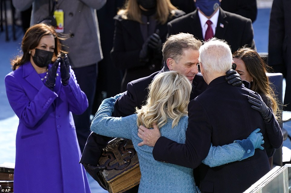President Joe Biden is congratulated by first lady Jill Biden, his son Hunter Biden and daughter Ashley Biden after being sworn-in during the 59th Presidential Inauguration