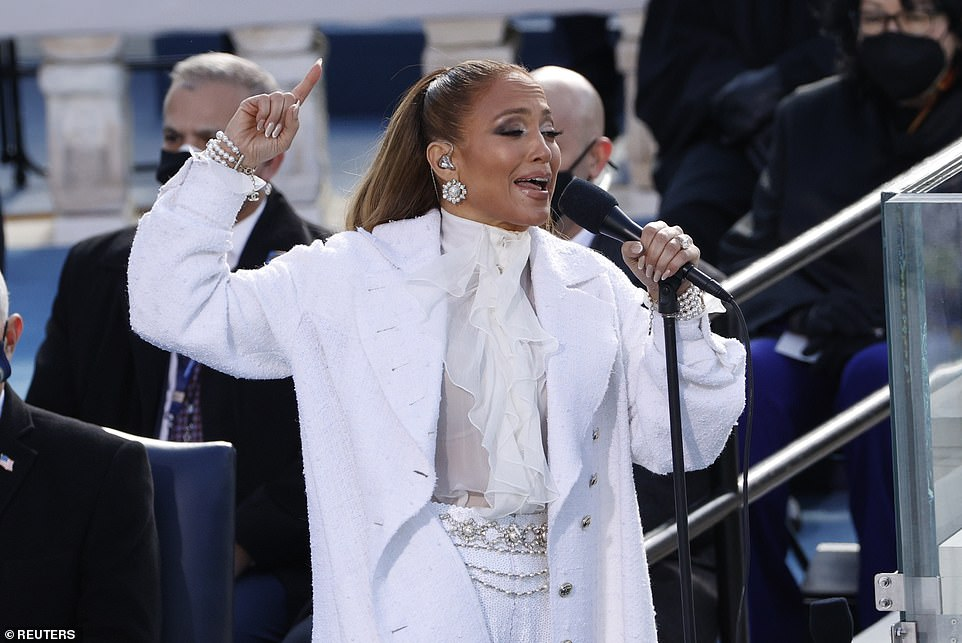 Jennifer Lopez performs during the inauguration of Joe Biden as the 46th President of the United States