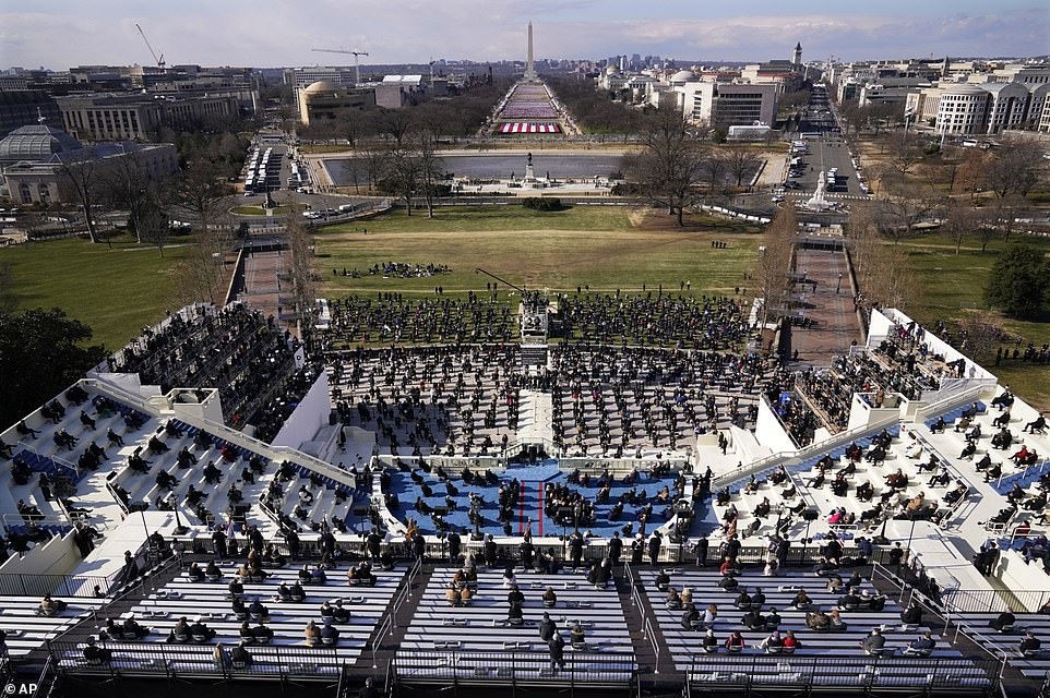 Guests and spectators attend the 59th Presidential Inauguration for President Joe Biden