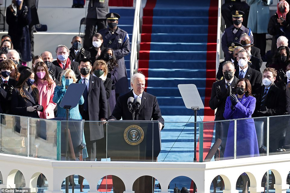 Biden made the coronavirus pandemic a central part of his campaign, and there were reminders all around him of the difficult circumstances the nation faces. Attendees had their chairs spaced out in an effort at social distancing