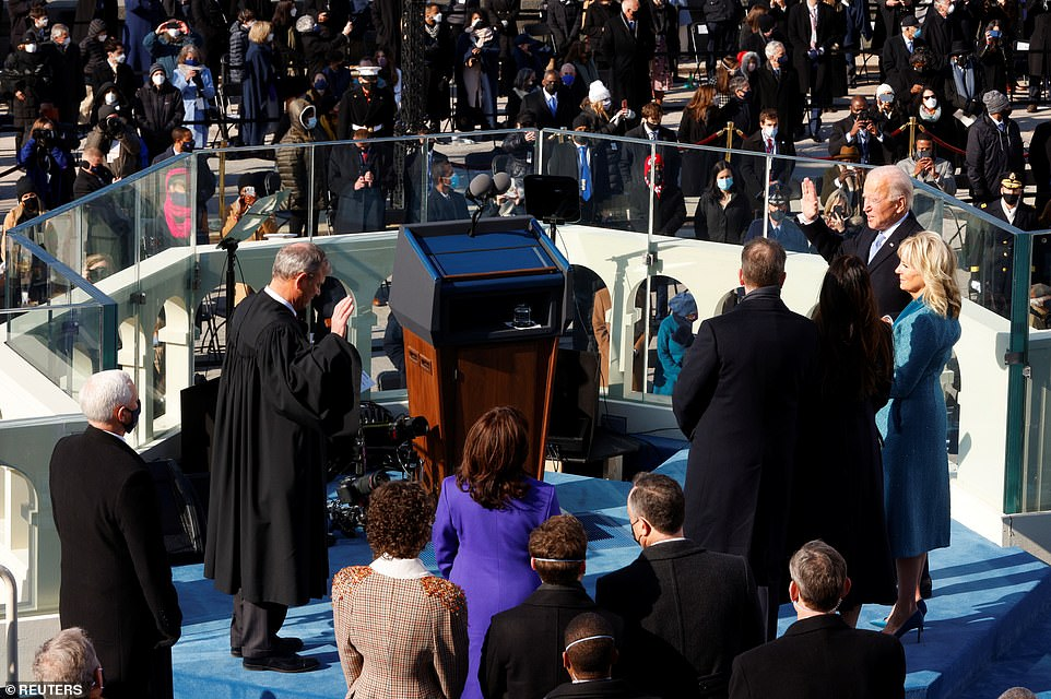 Joe Biden is sworn in as the 46th President of the United States on the West Front of the U.S. Capitol in Washington DC