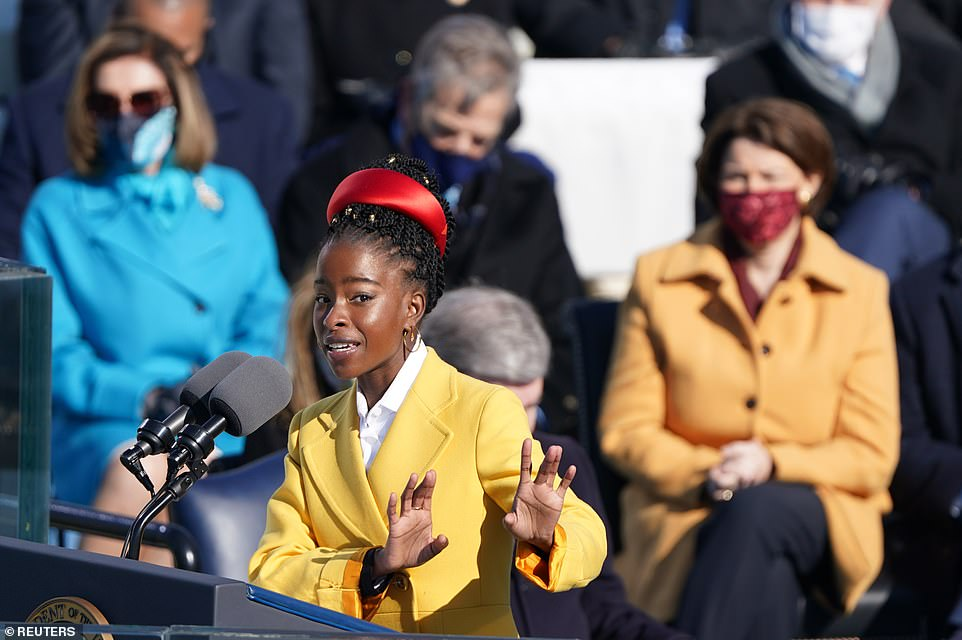 Amanda Gorman recites a poem during the inauguration of Joe Biden