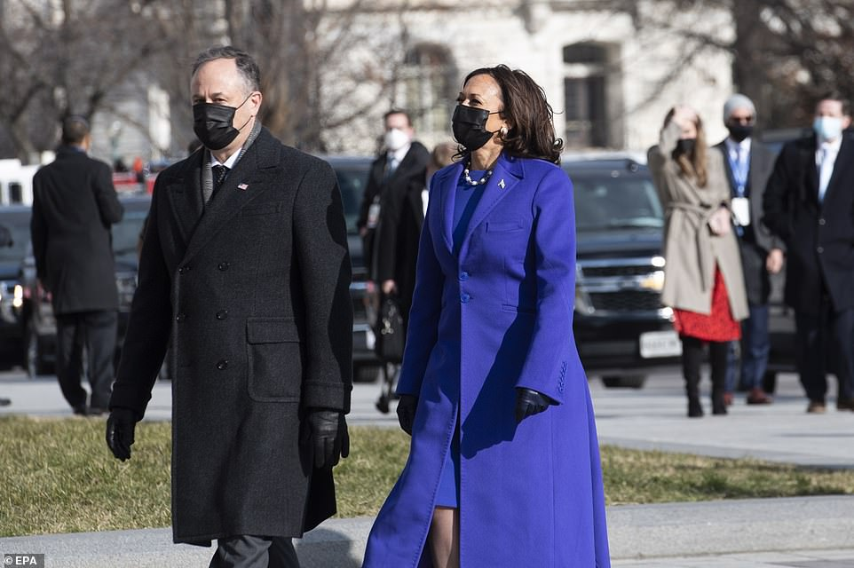 Harris and Douglas Emhoff arrive at the United States Capitol for the inauguration of Joe Biden as US President