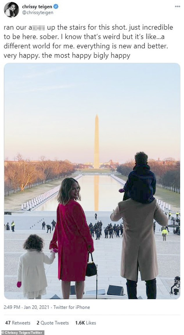 Thankful: In an emotional Twitter post, Chrissy Teigen expressed how thankful she was to have experienced Wednesday's inauguration 'sober,' a decision she says has made her 'very happy