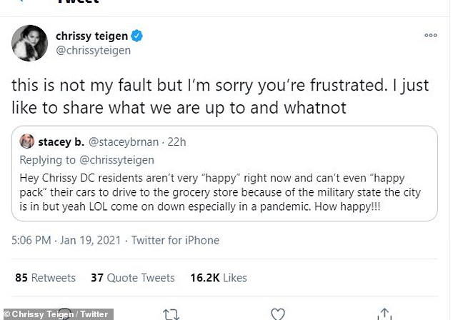 """Not very happy:One irked Washington, D.C. resident wrote: 'Hey Chrissy DC residents aren't very """"happy"""" right now and can't even """"happy pack"""" their cars to drive to the grocery store because of the military state the city is in but yeah LOL come on down especially in a pandemic. How happy!!!'"""