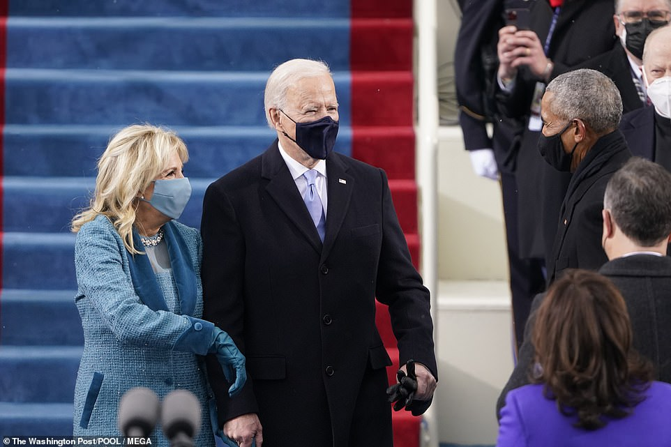 Joe Biden and his wife, Dr Jill Biden, both wore masks for thePresidential Inauguration at the U.S. Capitol in Washington