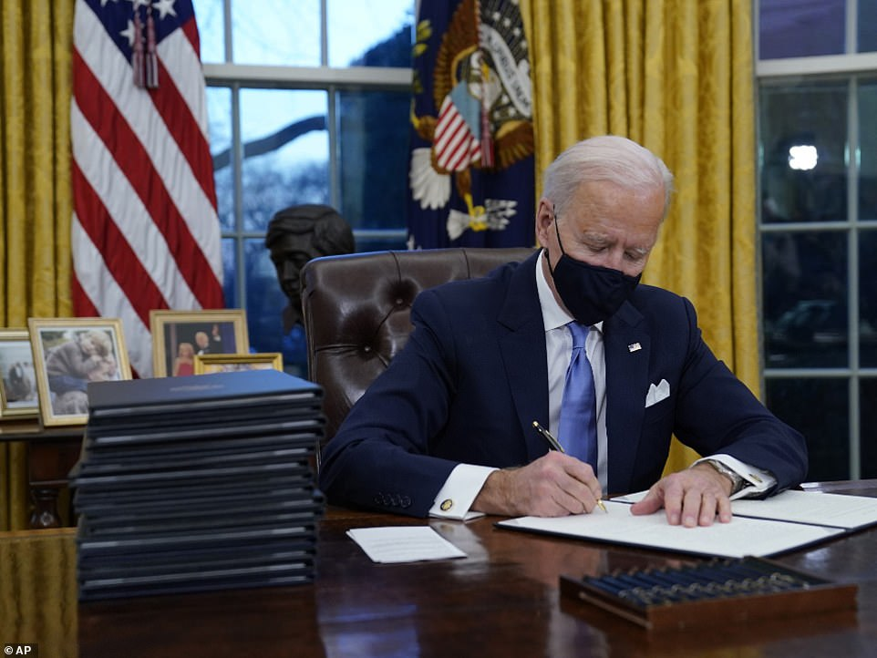 Biden's order says federal employees, contractors and others in federal buildings or on federal lands should 'wear masks, maintain physical distance, and adhere to other public health measures, as provided in (Centers for Disease Control and Prevention (CDC) guidelines.' The president directed agencies to 'immediately take action...to require compliance with CDC guidelines' and for employees to wear masks and engage in social distancing