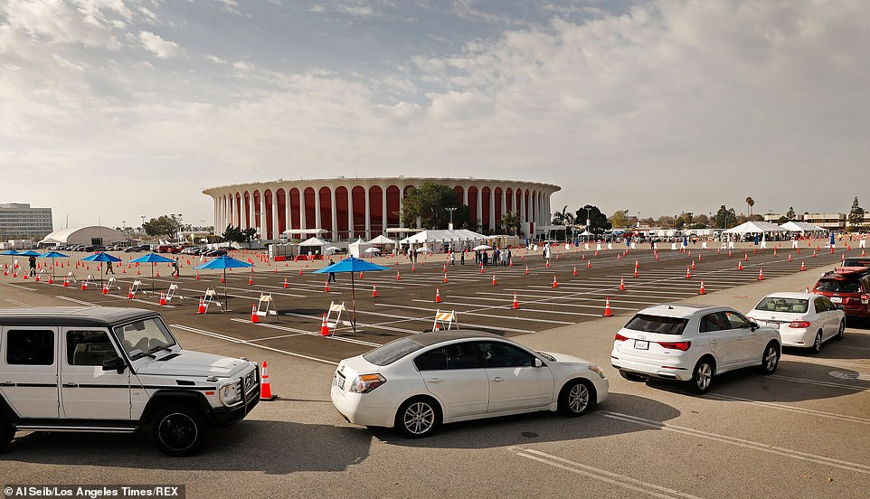 Vehicles line up at The Forum in Inglewood for vaccination distribution as a COVID-19 vaccination site.Health experts said widespread vaccination could help curb the surge of cases, but rollout has been slow