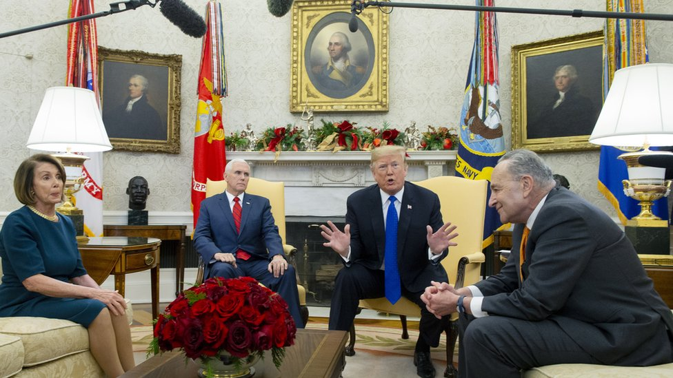 Trump in the Oval Office with Pence, Pelosi and Schumer on December 11, 2018