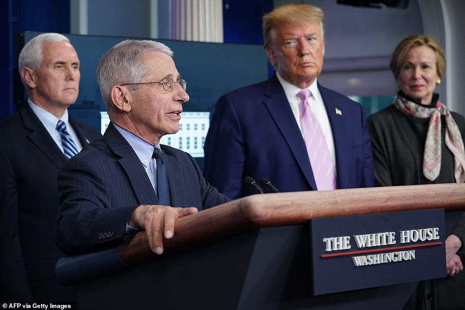 Fauci talked about the strain he felt giving briefings under President Trump such as this briefing in April, 2020