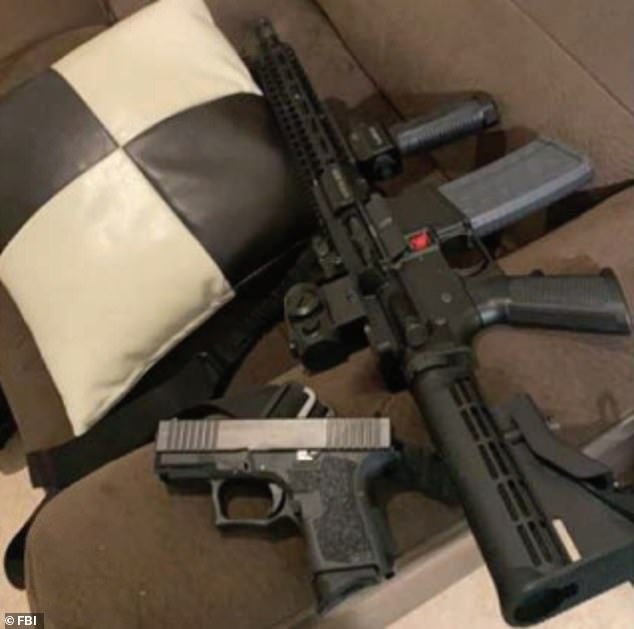 Fisher allegedly posted this image of a stash of weapons that he had with him in Washington before the Capitol riot. The FBI affidavit did not say whether he took them to the Capitol