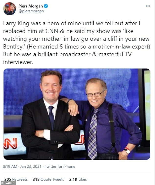'Larry King was a hero of mine until we fell out after I replaced him at CNN & he said my show was 'like watching your mother-in-law go over a cliff in your new Bentley.' (He married 8 times so a mother-in-law expert) But he was a brilliant broadcaster & masterful TV interviewer,' Piers Morgan wrote
