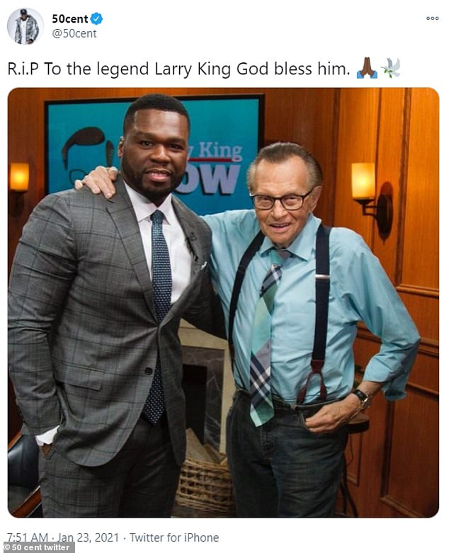'R.i.P To the legend Larry King God bless him,' 50 Cent wrote across a tweet alongside a picture of the famed host.