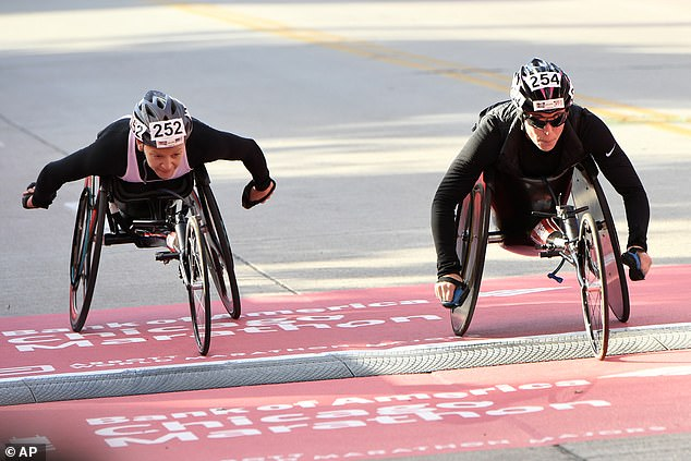 Named Paralympic stars have cast doubt on these claims saying they had never met him and some of the events he spoke about don't exist in the athletic world. Amanda McGrory, a three-time US Paralympian wheelchair athlete (right), likened his claims to 'a kid saying they want to play in the NBA'