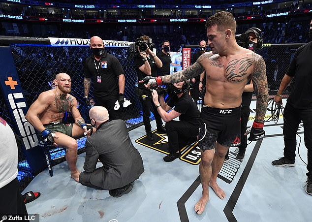 McGregor (left) was beaten just two rounds into Saturday's UFC comeback with Dustin Poirier