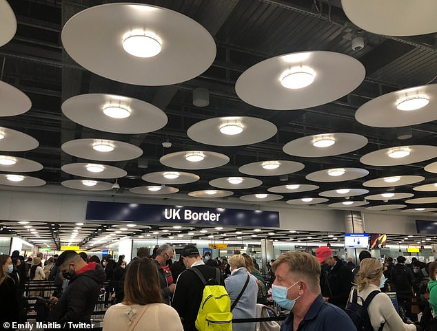 Newsnight presenter Emily Maitlis shared a picture of the busy passport control area in Heathrow Airport (pictured) - which she later deleted
